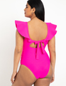 Drama Ruffle One Piece Swimsuit Pink Glow