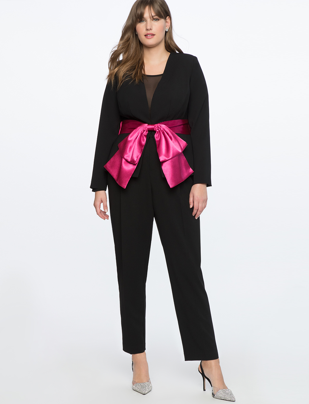 Peplum Blazer With Satin Bow