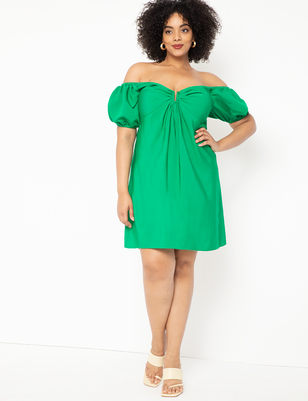 Puff Sleeve Off the Shoulder Dress