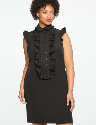 Ruffle Front Bib Dress