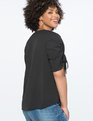 Ruched Sleeve Top Totally Black
