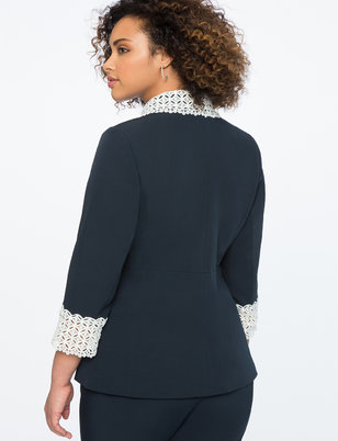 Long Blazer with Lace Cuff Detail