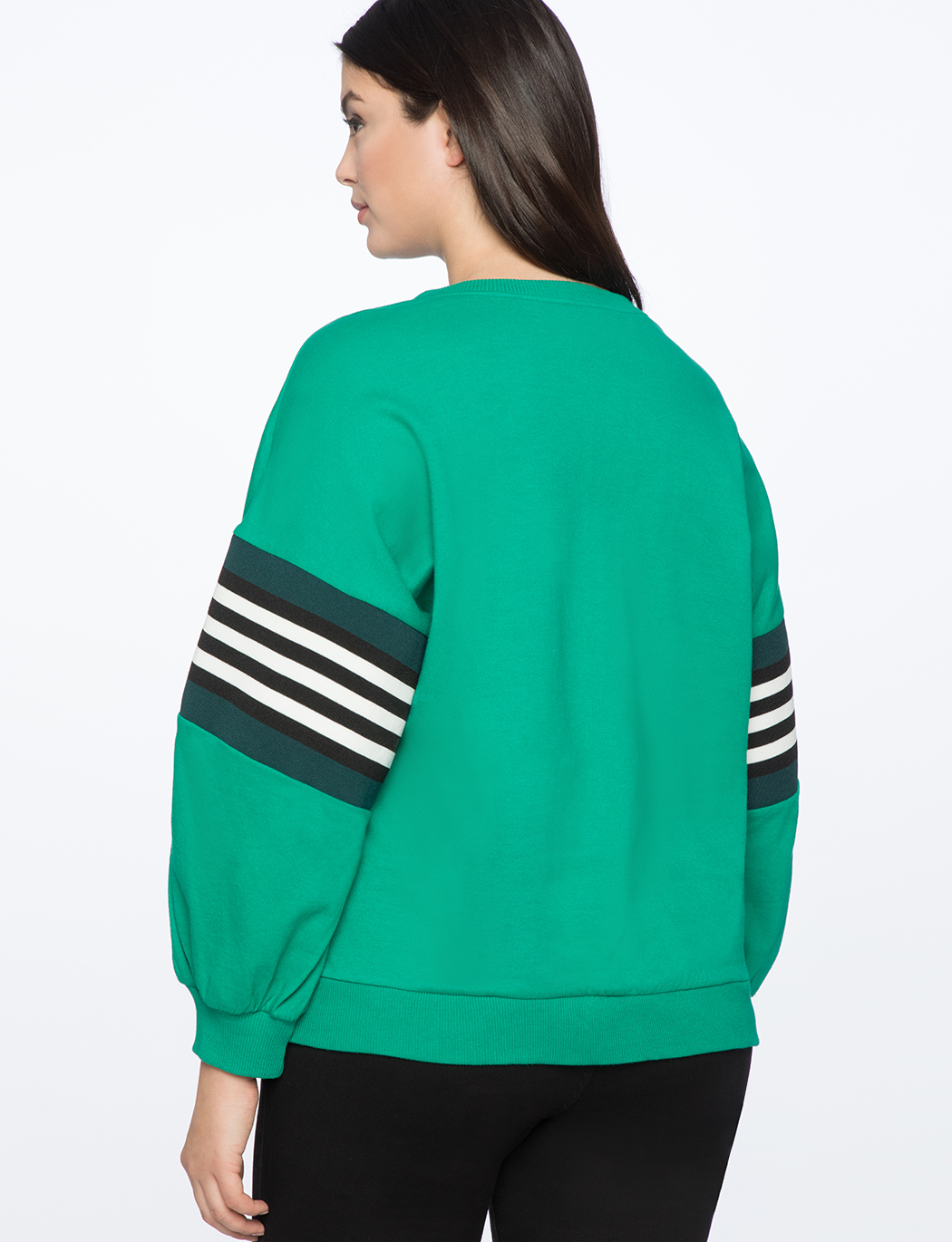 Dramatic Puff Sleeve Sweatshirt with Stripe Detail