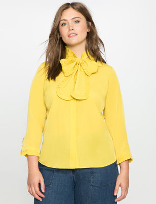 Bow Neck Ruffle Detail Blouse