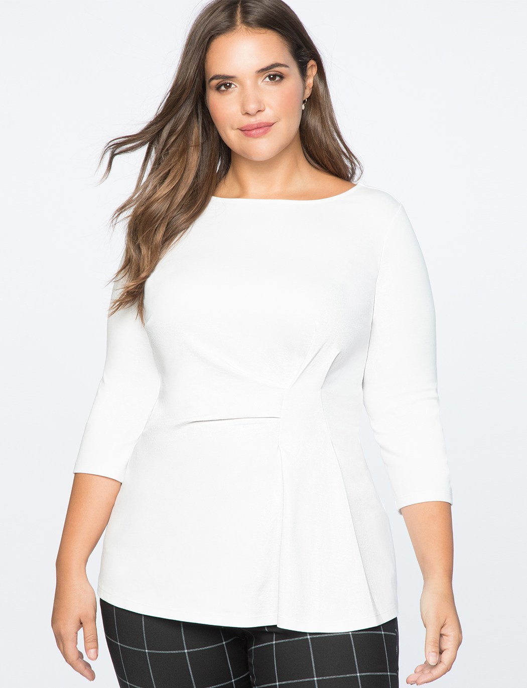 Asymmetrical Pleated 3/4 Sleeve Top