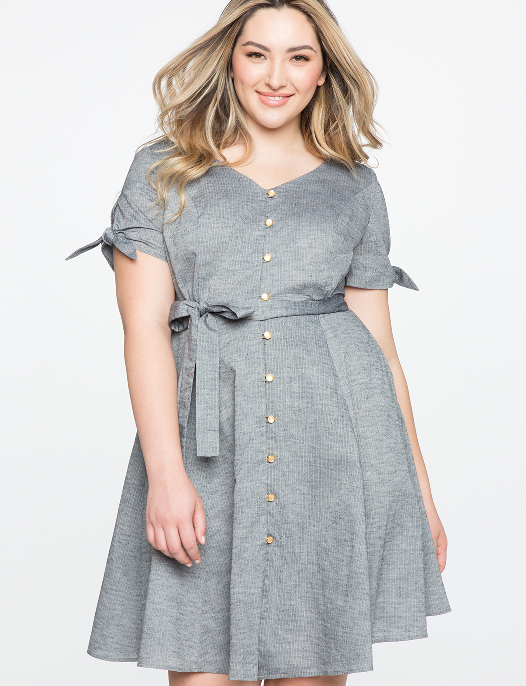 Button Down Fit and Flare Dress | Women\'s Plus Size Dresses | ELOQUII