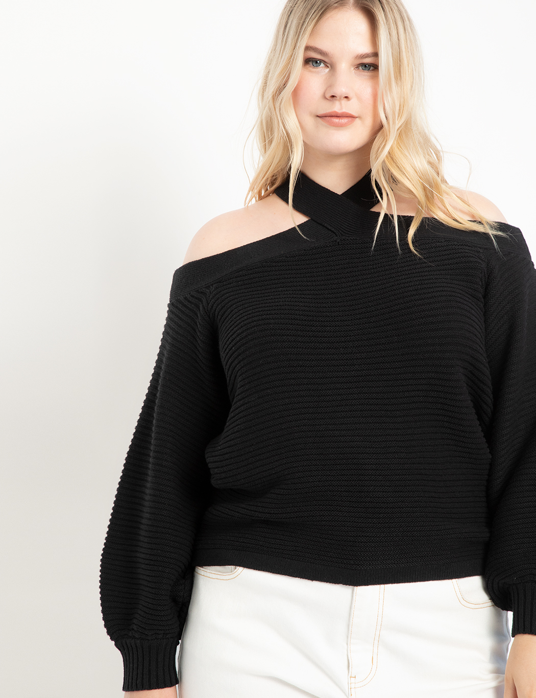 Cold Shoulder Cross Front Sweater 8
