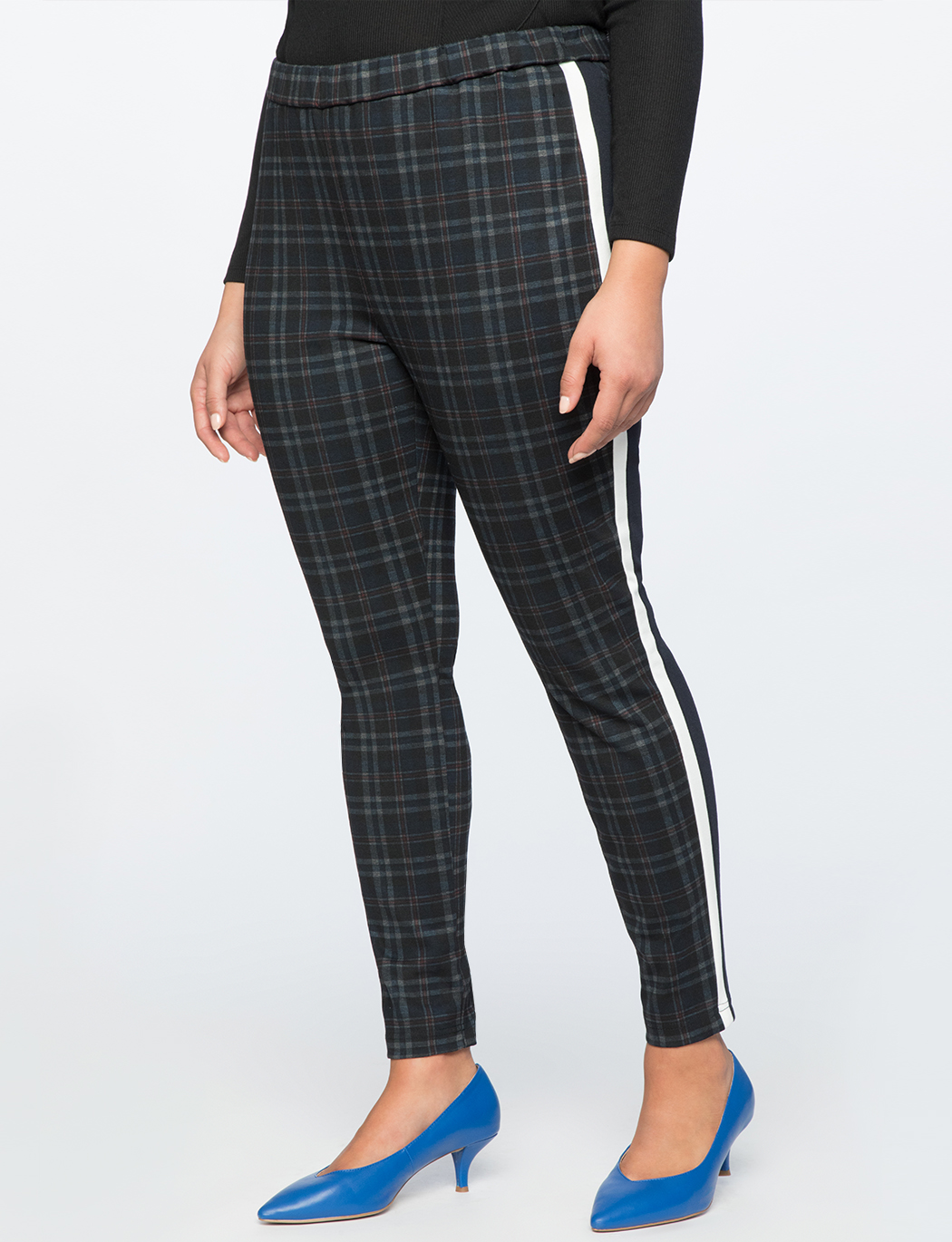 Plaid Legging With Side Stripe