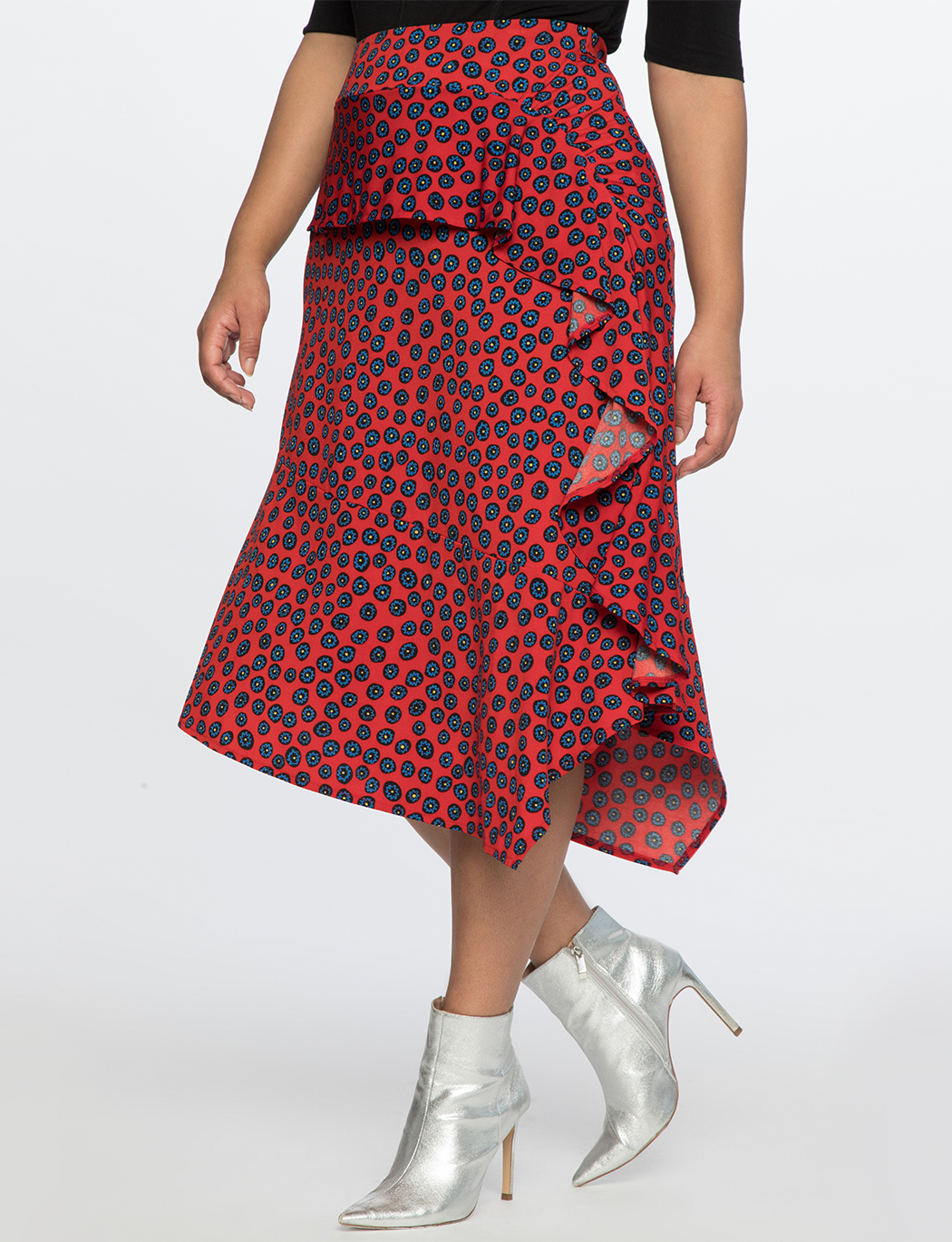 Printed Skirt With Ruffle