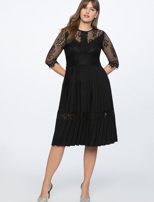 Lace and Pleated Skirt Dress