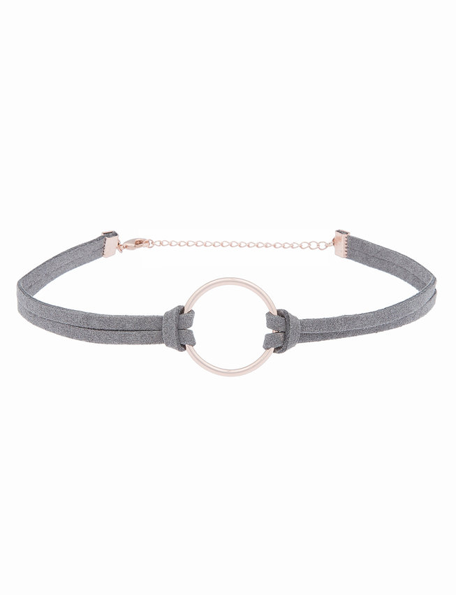Faux Suede Ring Detail Choker Necklace