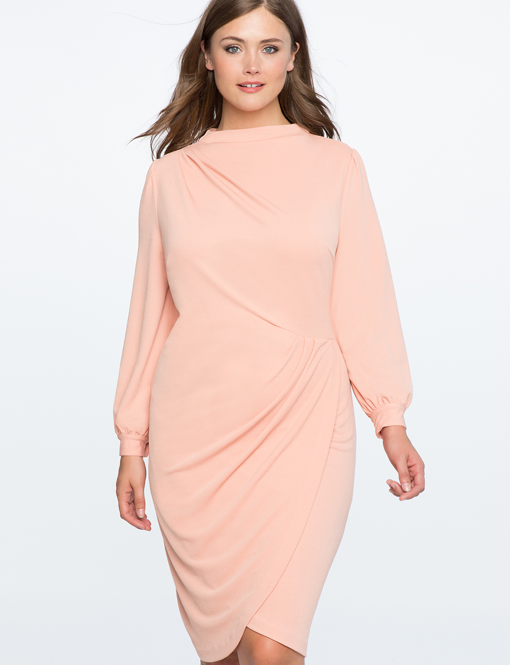 Drape Front Mock Neck Dress | Women\'s Plus Size Dresses | ELOQUII