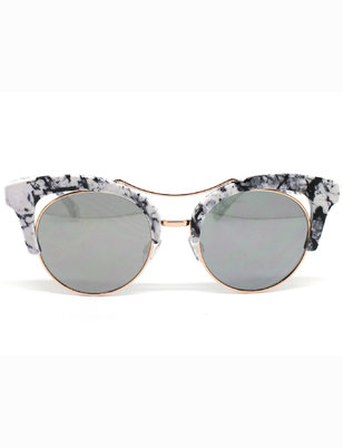Marbled Brow Retro Frame Sunglasses