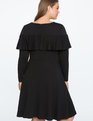 Flounce Overlay Fit and Flare Dress BLACK