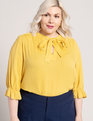 Bow Blouse with Puff Sleeve Spicy Mustard