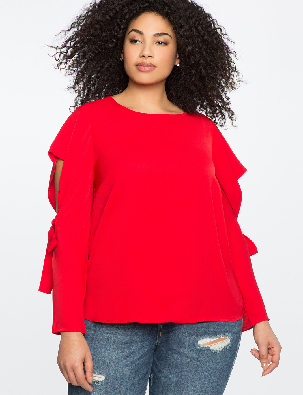 Cutout Sleeve Top With Tie Detail