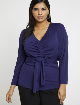 Gathered Front Tie Waist Top
