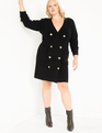 Military Button Sweater Dress Black