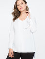Hi-Lo Tunic with Tie Sleeve Detail WHITETAIL
