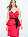 Draped Bodice Peplum Dress JESTER RED
