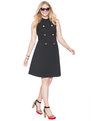 Fit and Flare Military Dress Totally Black