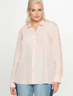 Lace Sleeve Button Up Blouse