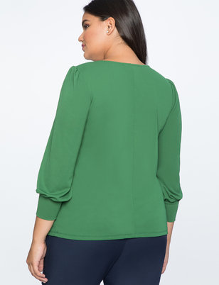 Gathered Neckline Puff Sleeve Top