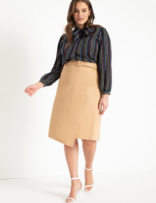 Wrap Front Skirt with Buckle