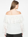 Lace Overlay Off the Shoulder Blouse White