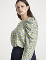 Jason Wu/ELOQUII Draped Puff Sleeve Blouse Big Poppy