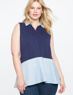 Sleeveless Faux Layered Button Down