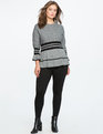 Marled Sweater With Sporty Stripe And Flounce Black