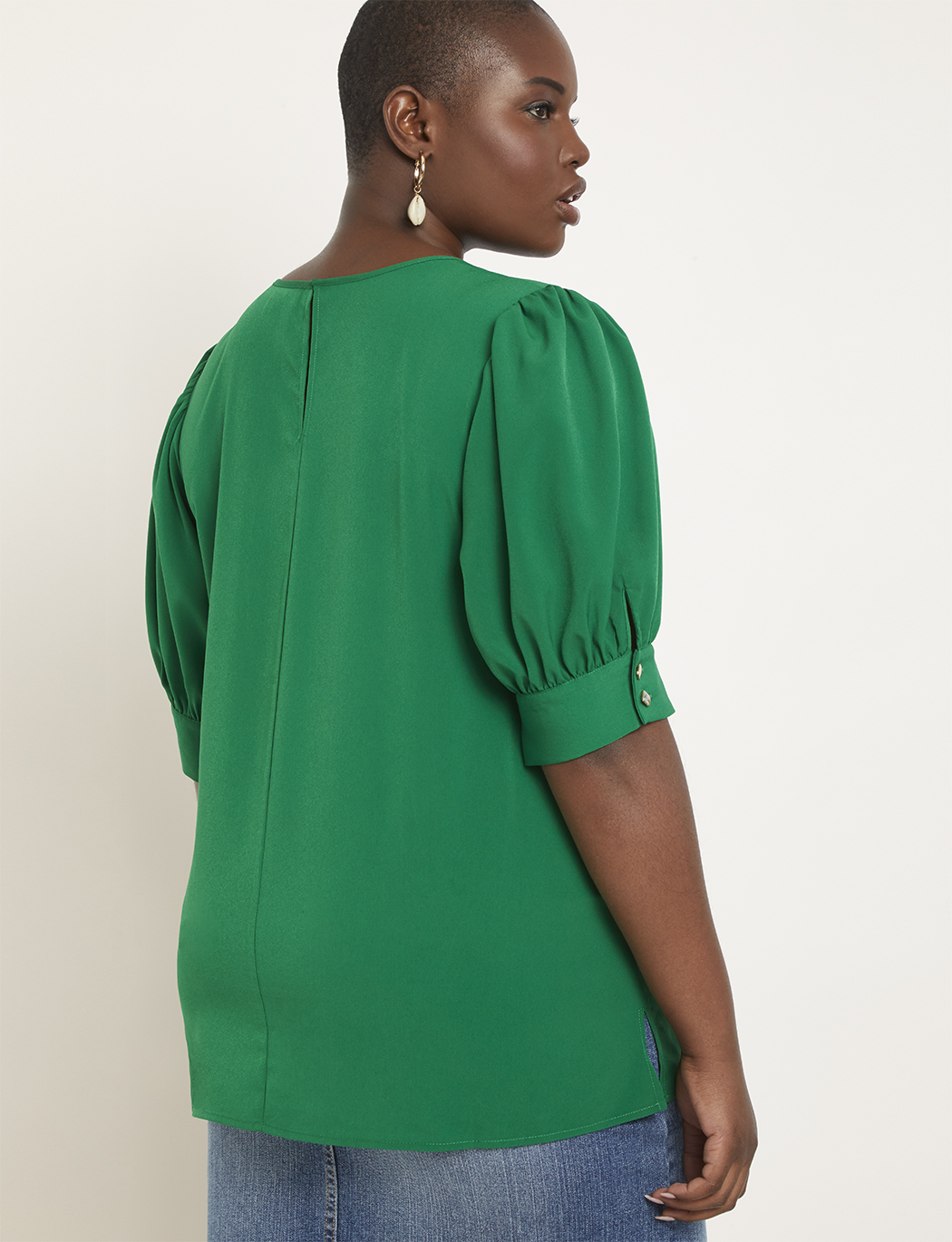 Puff Sleeve Top with Button Detail