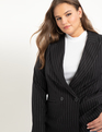 Double Breasted Pinstripe Blazer Black and White PInstripe