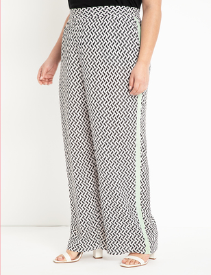 Printed Wide Leg Pant with Side Stripe