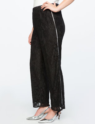 Wide Leg Lace Pant with Piping