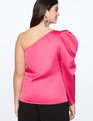 Draped One Shoulder Top Pink Peacock