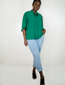 Bow Blouse with Flutter Sleeve Green Lake