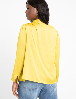 Satin Button Shoulder Top