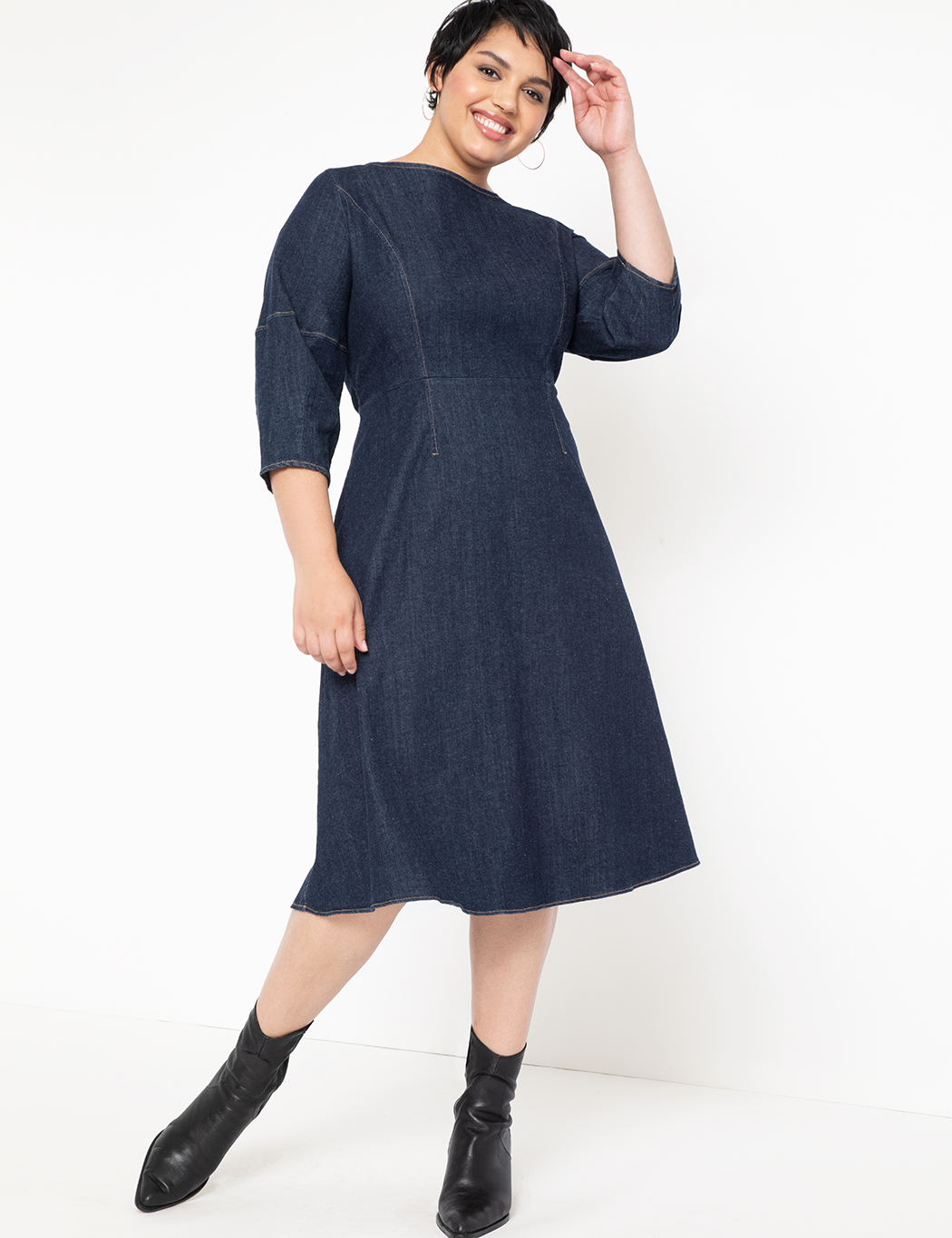 A-Line Lantern Sleeve Denim Dress