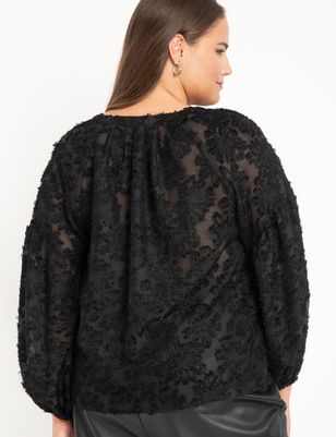 Textured Blouse with Pleated Neckline