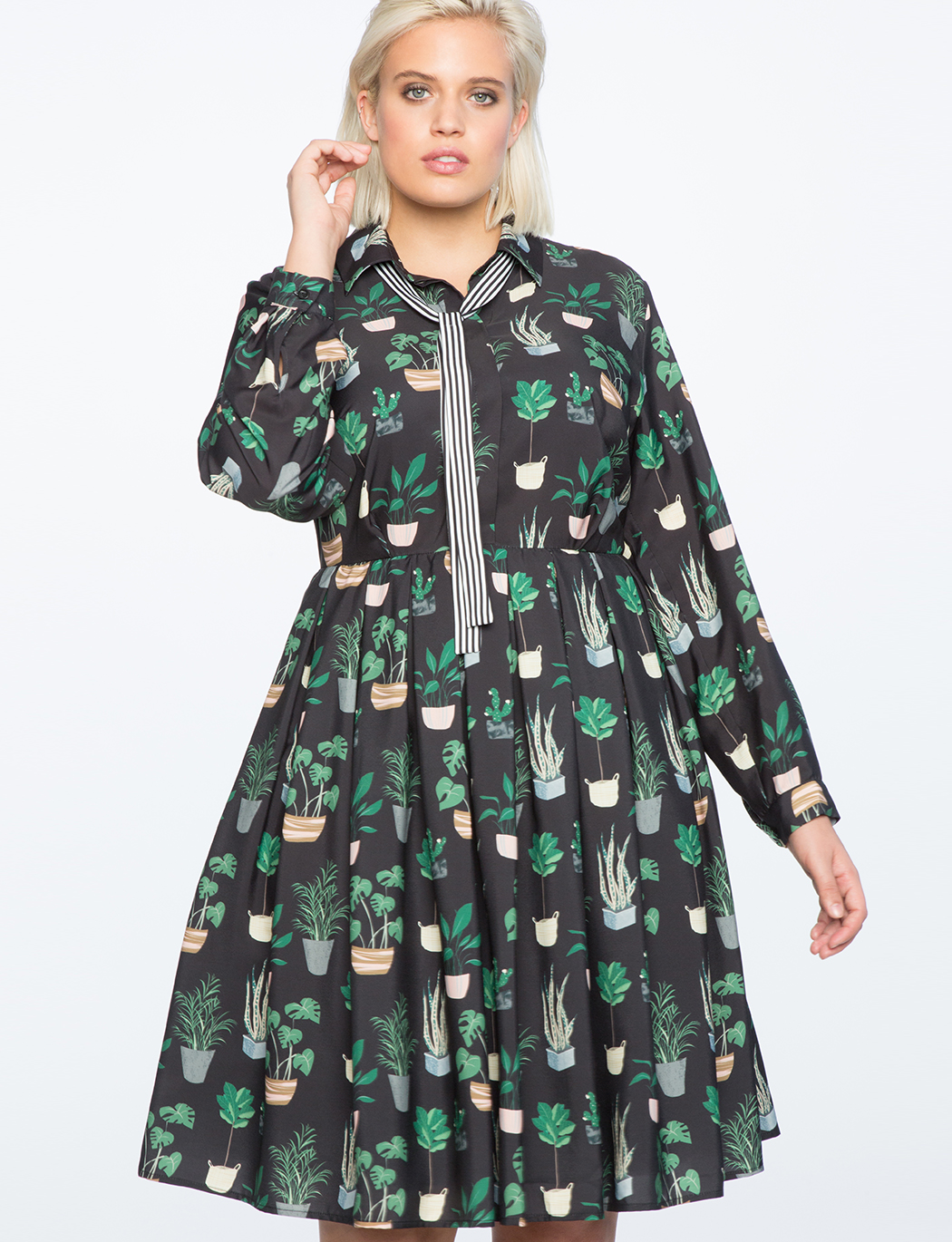 Long Sleeve Printed Fit and Flare Dress | Women\'s Plus Size Dresses ...