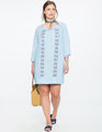 Embroidered Tie Front Shift Dress BLUE FOX