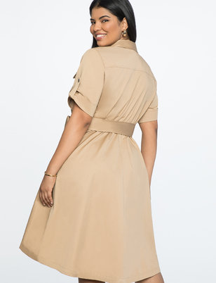 Fit and Flare Dress with Draped Skirt
