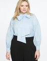 Long Sleeve Bow Blouse Light Blue and White Stripe