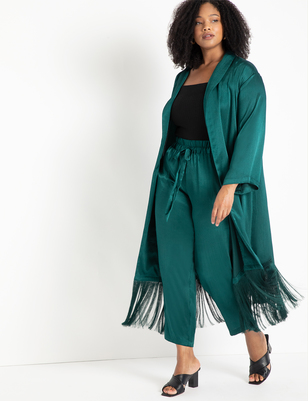 Satin Duster with Fringe Detail