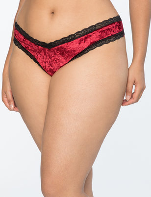 Velvet Panty with Lace Panel