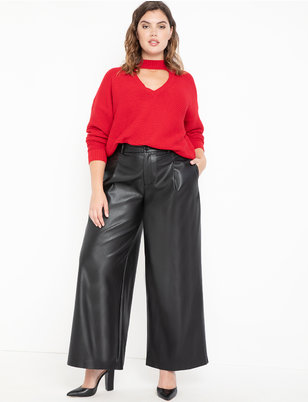 Vegan Leather Wide Leg Pant