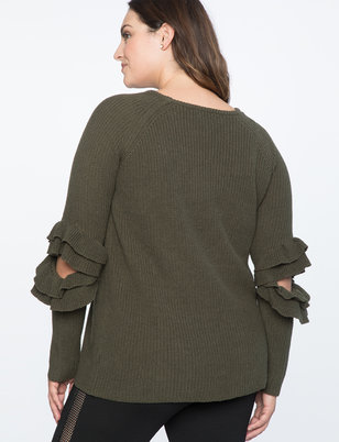 Ruffled Cutout Sweater