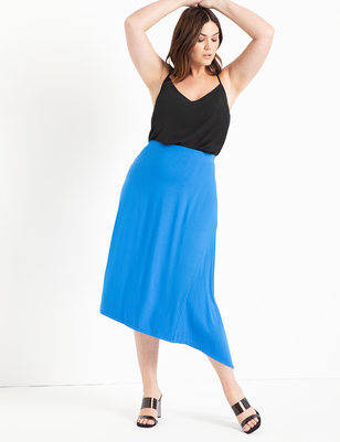 Knit Midi Skirt with Asymmetric Hem